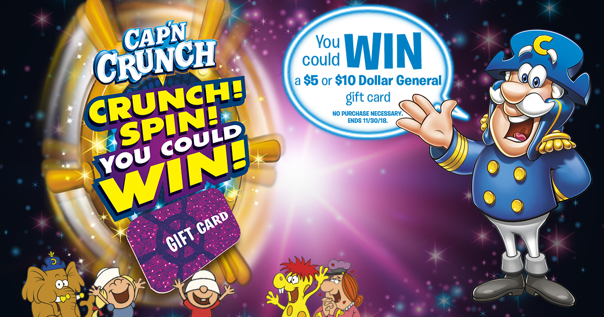 You could instantly win Gift Cards to Dollar General. No Purch Nec. Ends 11/30/18. 18+, US only, Rules: https://crunchspintowin.com/rules/