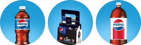 A 20 oz. bottle of Pepsi, a 4 pack of 20 oz. Pepsi products, and a 2 liter of Diet Pepsi