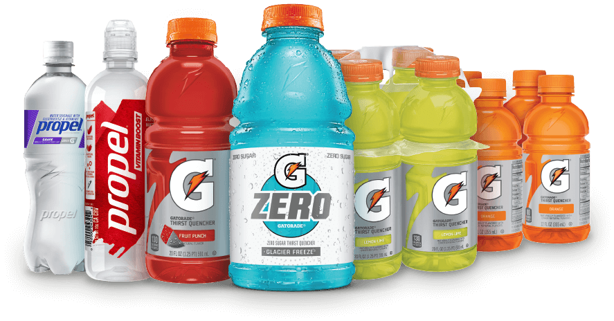 Several bottles of beverages: Grape Propel, Vitamin Boost Propel, Fruit Punch Gatorade, Glacier Freeze Gatorade Zero, a four-pack of Lemon-Lime Gatorade, a four-pack of Orange Gatorade